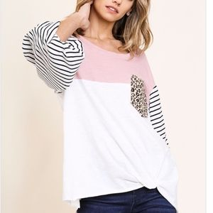 Colorblock Long Puff Sleeve Round Neck Top